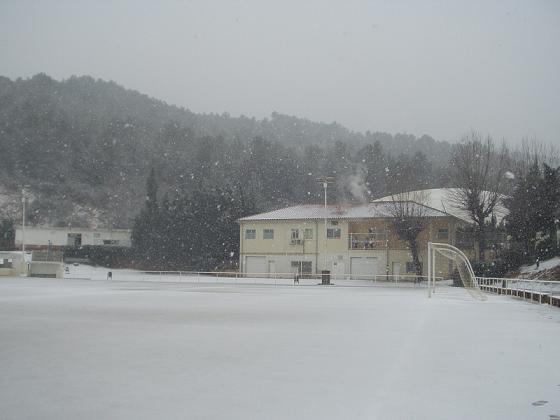 Campo futbol y piscina nevada 2006 sant andreu de la for Piscina sant andreu