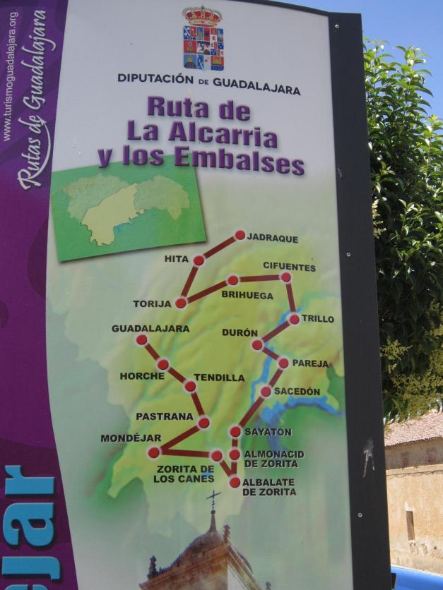 Mapa Con Los Pueblos Que Forman La Ruta De Los Embalses De La Alcarria Mondejar Guadalajara