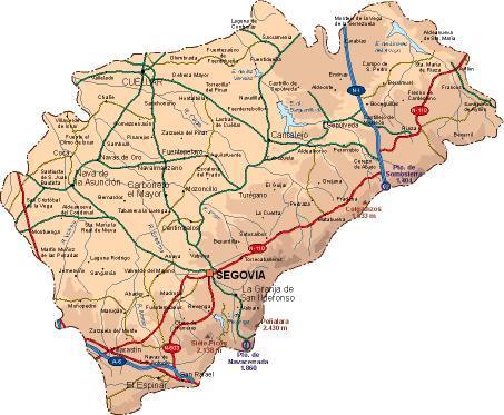 Segovia Mapa De Carreteras Bernuy De Coca Segovia
